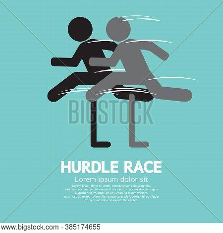 Hurdle Race Icon Black Symbol Vector Illustration. Eps 10