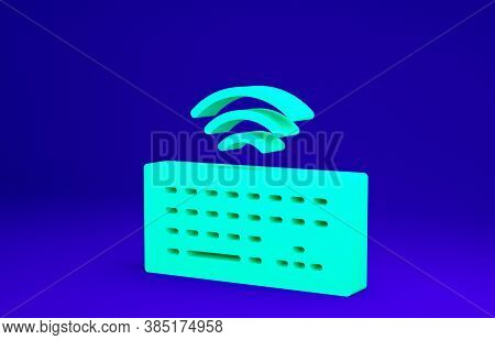 Green Wireless Computer Keyboard Icon Isolated On Blue Background. Pc Component Sign. Internet Of Th