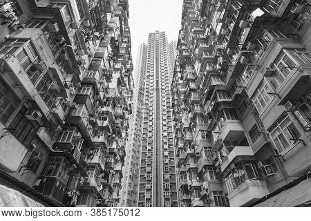 Crowded Old And New Residential Building In Hong Kong City