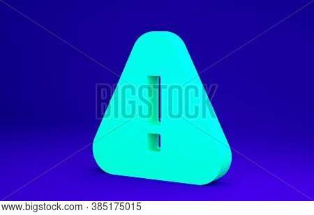 Green Exclamation Mark In Triangle Icon Isolated On Blue Background. Hazard Warning Sign, Careful, A