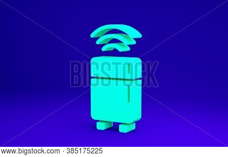 Green Smart Refrigerator Icon Isolated On Blue Background. Fridge Freezer Refrigerator. Internet Of