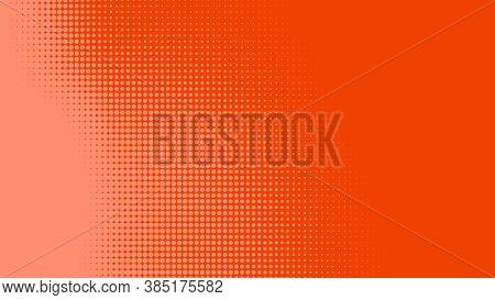 Dots Halftone Orange Color Pattern Gradient Texture With Technology Digital Background. Dots Pop Art