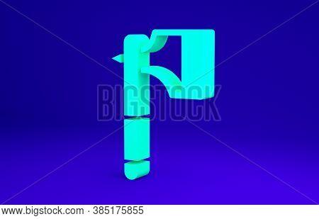 Green Wooden Axe Icon Isolated On Blue Background. Lumberjack Axe. Minimalism Concept. 3d Illustrati