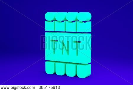 Green Detonate Dynamite Bomb Stick And Timer Clock Icon Isolated On Blue Background. Time Bomb - Exp