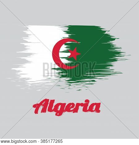 Brush Style Color Flag Of Algeria, It Is Of Two Equal Vertical Bars, Green And White, Charged In The