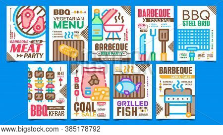 Barbeque Party Advertising Posters Set Vector. Barbeque Meat, Fish And Vegetarian Menu, Bbq Tools An
