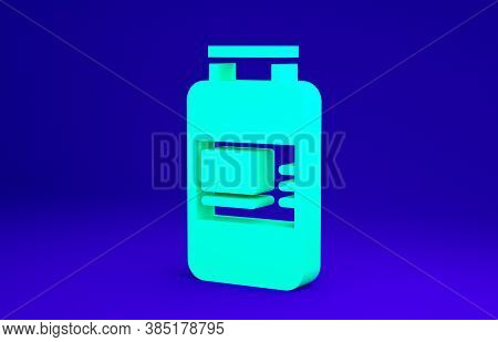 Green Collagen Serum And Vitamin Icon Isolated On Blue Background. Facial Treatment Essence Skin Car
