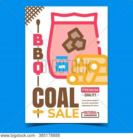Bbq Coal Sale Creative Advertising Poster Vector. Barbeque Coals Package And Natural Firewood Promot