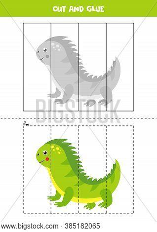 Cut And Glue Game For Kids. Cute Cartoon Iguana.