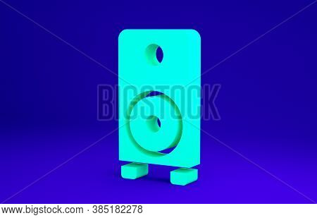 Green Stereo Speaker Icon Isolated On Blue Background. Sound System Speakers. Music Icon. Musical Co