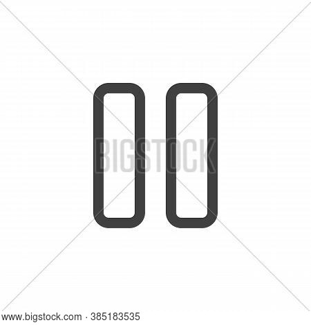 Pause Button Line Icon. Linear Style Sign For Mobile Concept And Web Design. Ui Pause Outline Vector