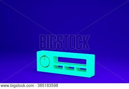 Green Car Audio Icon Isolated On Blue Background. Fm Radio Car Audio Icon. Minimalism Concept. 3d Il