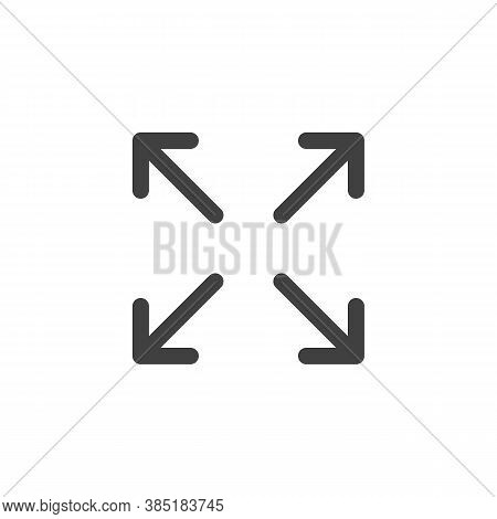 Full Screen Arrows Line Icon. Linear Style Sign For Mobile Concept And Web Design. Maximize, Expand