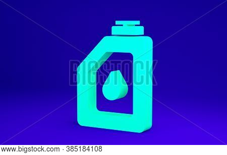 Green Canister For Motor Machine Oil Icon Isolated On Blue Background. Oil Gallon. Oil Change Servic