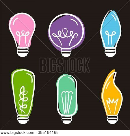Set Of Hand-drawn Light Bulb Icons On Blackboard. Hand Made Lamps For Decoration Of Postcards, Stick