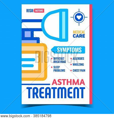 Asthma Treatment Creative Promo Banner Vector. Difficult Breathing And Sleep Problems, Allergies, Wh