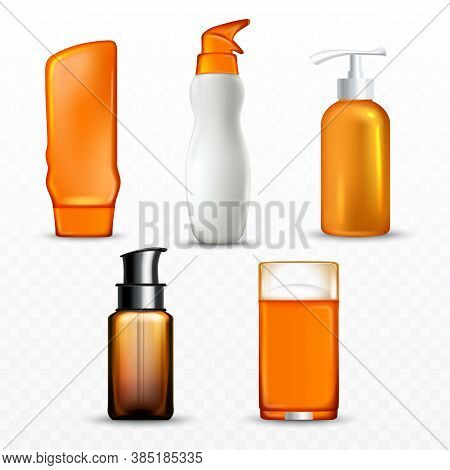 Sunscreen Cream Bottles Collection Set Vector. Sunscreen Body Care Blank Containers With Spray And P