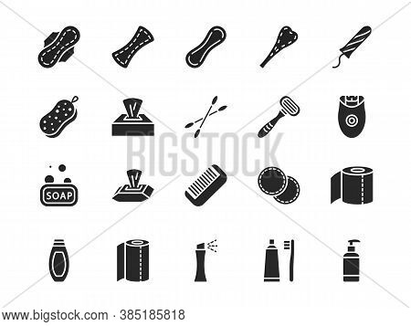 Personal Hygiene Products Flat Glyph Icon Set. Vector Illustration Sanitary Pads, Soap, Washcloth Co