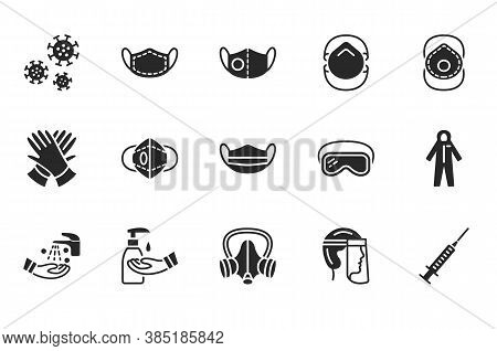Covid-19 Protection Equipment And Clothing Glyph Icon. Various Types Of Protective Masks And Respira