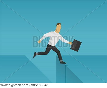 Businessman Jumps Over The Abyss - Business Competition Or Crisis Management Conceptual Illustration