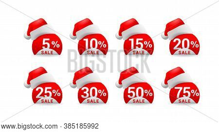 Christmas Or New Year Sale Tags With Santa Hat And Different Percentage - 5, 10, 15, 20, 25, 30 50 A