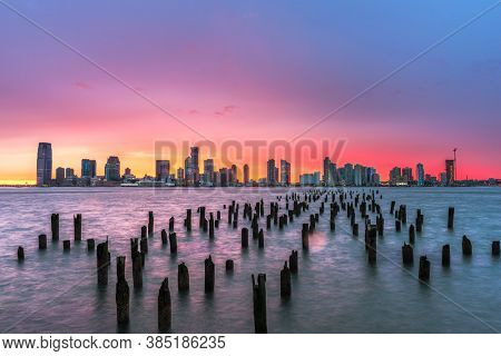 Exchange Place, New Jersey, USA skyline from across the Hudson River.