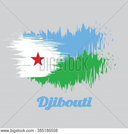 Brush Style Color Flag Of Djibouti, A Horizontal Light Blue And Light Green With A White Triangle At