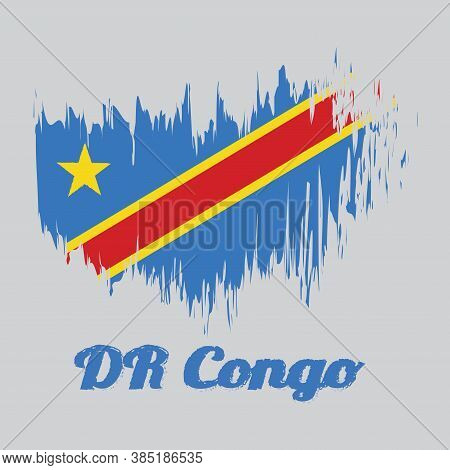 Brush Style Color Flag Of Dr Congo, Sky Blue Field With Diagonally Red And Yellow Stripe And Star. W