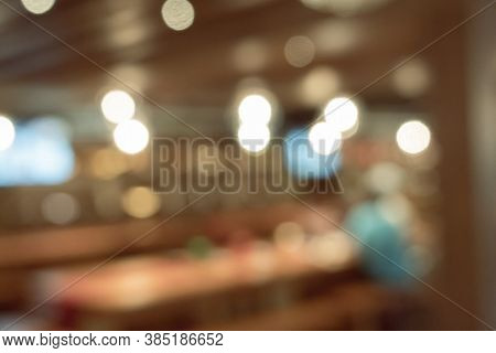 abstract background of coffee shop, shallow depth of focus with nobody