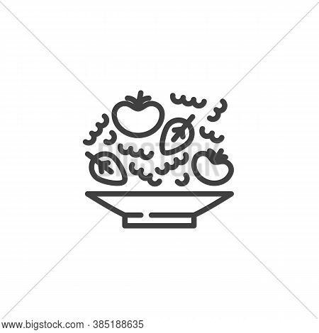 Tomatoes Soup Plate Line Icon. Linear Style Sign For Mobile Concept And Web Design. Plate With Tomat