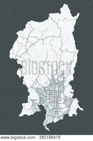 Kyoto Map. Detailed Map Of Kyoto City Administrative Area. Cityscape Panorama. Royalty Free Vector I