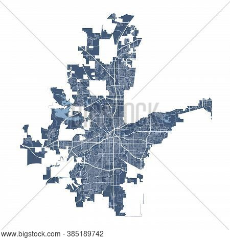 Fort Worth Map. Detailed Vector Map Of Fort Worth City Texas Administrative Area. Cityscape Poster M