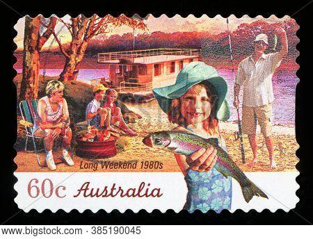 Australia - Circa 2010: A Stamp Printed In Australia Shows Long Weekend 1980s, Circa 2010