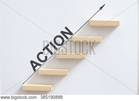 Wooden Stair Wooden Cube Block With Text Action