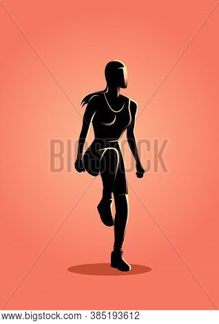 Silhouette Vector Illustration Of A Woman Doing Aerobic