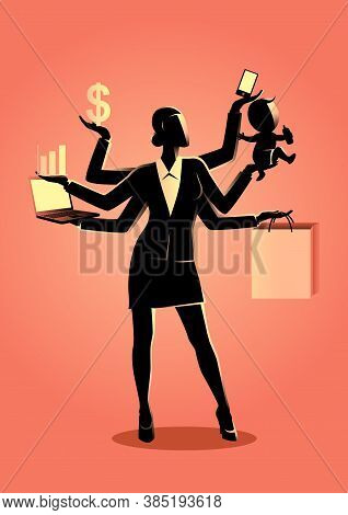 Business Concept Vector Illustration Of A Businesswoman With Many Hands, Concept For Multitasking