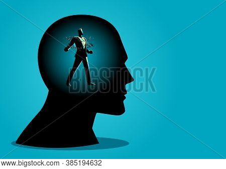 Business Concept Vector Illustration Of A Businessman In Human Head Breaking Chains, Freedom, Free Y