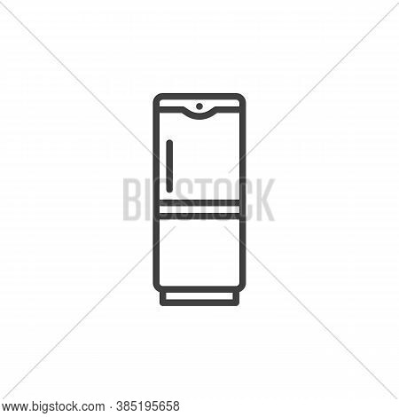 Fridge, Freezer Line Icon. Linear Style Sign For Mobile Concept And Web Design. Refrigerator Outline
