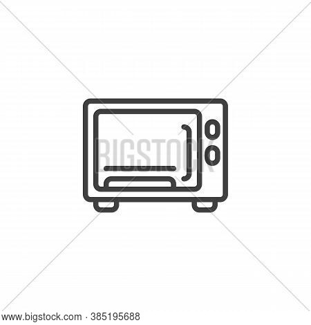Microwave Line Icon. Linear Style Sign For Mobile Concept And Web Design. Electric Oven Outline Vect