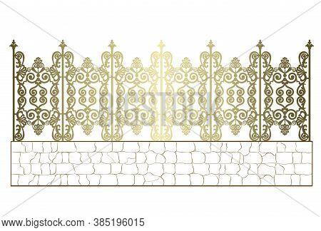 Golden Wrought Iron Fence Isolated On White Background