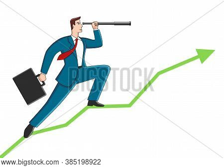 Business Concept Cartoon Of A Businessman Using Telescope On Graphic Chart. Concept For Forecast, Pr