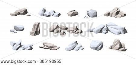 Collection Of Big And Small Heavy Stones. Set Of Natural Solid Rocks. Composition Of Cobblestone Pil