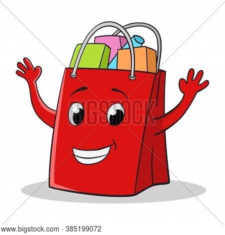 Happy Face Shopping Bag Cartoon Isolated On White