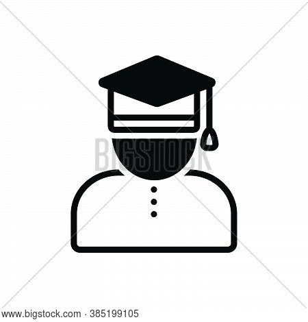 Black Solid Icon For Scholar Academic Learned-person Professor Degree Bachelor Education