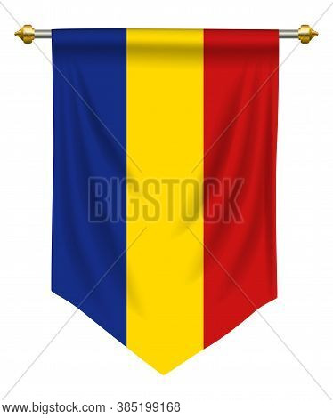 Romania Flag Or Pennant Isolated On White