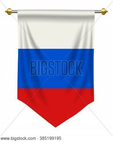 Russia Flag Or Pennant Isolated On White