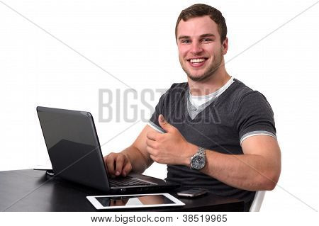Young Happy Man Working On Pc