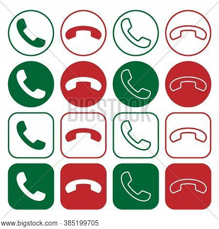 Phone Icon Set. Call Application Symbol Collection. Green And Red Button. Flat Interface Sign. Simpl