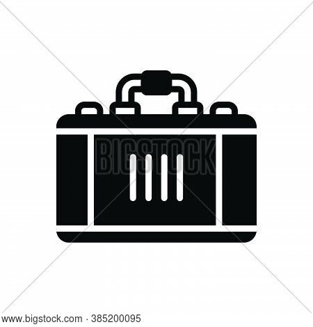 Black Solid Icon For Case Brief Handle Suitcase Travel-bag Valise Portmanteau Vanity-case Baggage Ha