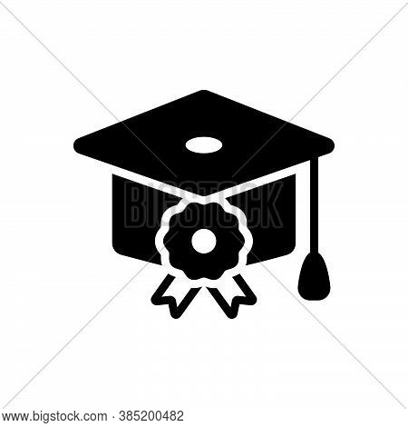 Black Solid Icon For Scholarship College Finance Student Achievement Bachelor Cap Degree Diploma Gra